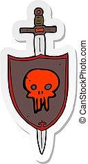 sticker, heraldisch, schild, schedel, spotprent