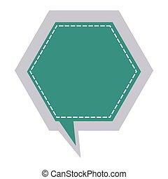 sticker hexagon frame callout dialogue vector illustration