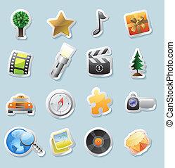 sticker, iconen, voor, amusement