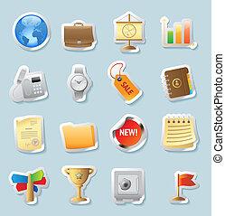 sticker, iconen, voor, zakelijk