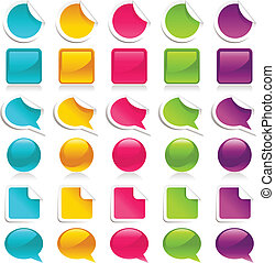 Vector set of colorful stickers, icons & speech bubbles.
