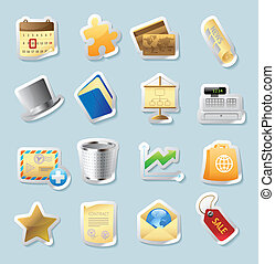 Sticker icons for business and finance - Sticker button set...