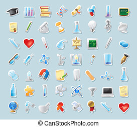 Sticker icons for science and education - Sticker button...