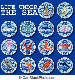 Sticker icons life under the sea on the ocean waves circle...