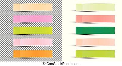 sticker., illustration., klebrige notiz, vektor, band, papier, pfahl, shadow.