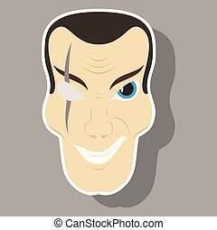 sticker illustration of cartoon superhero character design with big smile