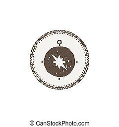 sticker., illustration., patch., símbolo, isolado, vetorial, aventura, fundo, compasso, ícone, branca, estoque