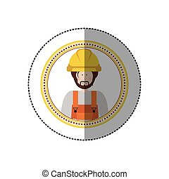 sticker in circular shape with portrait man worker with beard