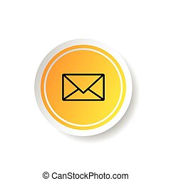 sticker in yellow color with letter envelope icon illustration