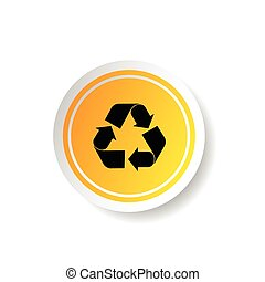 sticker in yellow color with recycle icon illustration
