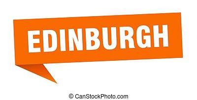 sticker., indicateur, orange, edimbourg, signe, poteau ...