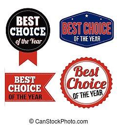 sticker, keuze, postzegels, etiket, jaar, of, best