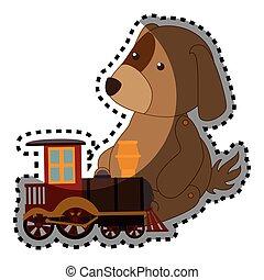 sticker, kleurrijke, dog, met, trein, speelbal