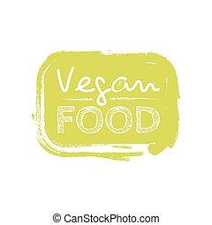 sticker., mad, doodle, logotype, vegan, hånd, vektor, stram, cartoon