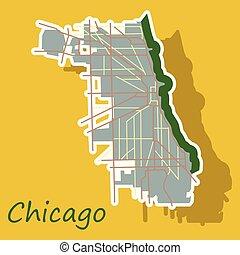 Sticker Map Chicago city. Illinois Roads