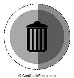 sticker monochrome circular emblem with trash container