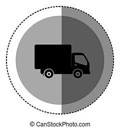 sticker monochrome circular emblem with truck icon