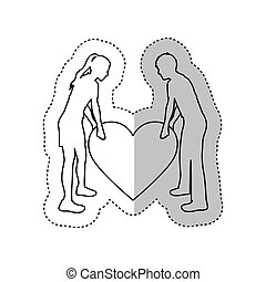 sticker monochrome contour with couple holding a big heart