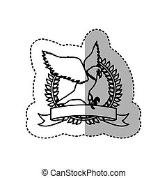 sticker monochrome contour with eagle flying in round frame over ribbon