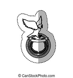 sticker monochrome contour with eagle over round frame with ribbon and olive crown
