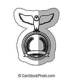 sticker monochrome contour with eagle with open wings over round frame with ribbon and olive crown