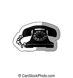 sticker monochrome silhouette antique phone with auricular ...