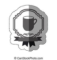 sticker monochrome silhouette border heraldic decorative ribbon with big mug with handle