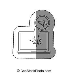 sticker monochrome silhouette broken front view tech laptop with pixelate cursor arrow