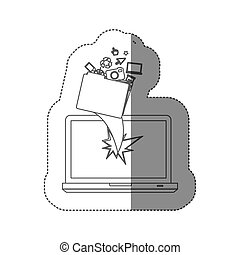 sticker monochrome silhouette broken front view tech laptop with tech elements