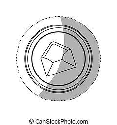 sticker monochrome silhouette circular button with envelopes...