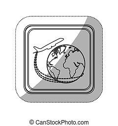 sticker monochrome silhouette square button with airplane around earth world