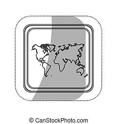 sticker monochrome silhouette square button with world map