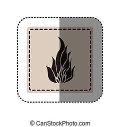 sticker monochrome square with icon flame