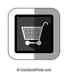 sticker monochrome square with shopping cart