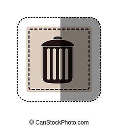 sticker monochrome square with trash container