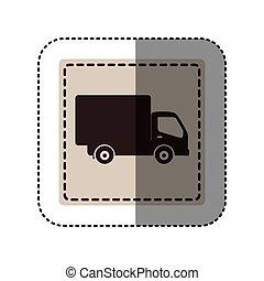 sticker monochrome square with truck vector illustration