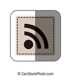 sticker monochrome square with wifi icon