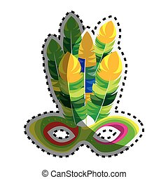 sticker multicolored mardi gras mask with feathers