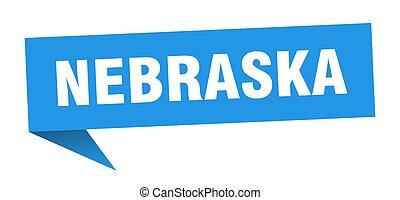 sticker., nebraska, indicador, azul, poste indicador, señal