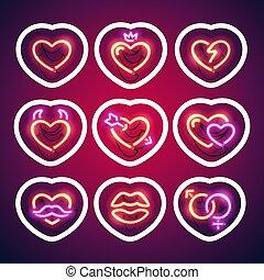 sticker, neon, slag, valentijn, gloeiend, hartjes