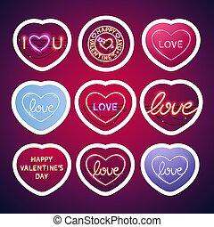 sticker, neon, slag, valentijn, gloeiend, tekens & borden, troep