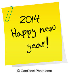 Sticker note with 2014 Happy New Year message