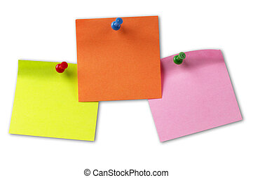 Color sticker notes isolated over white background