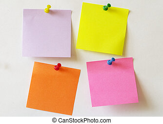 Sticker notes - Color sticker notes over white paper...