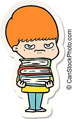 sticker of a angry cartoon boy with books
