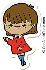 sticker of a annoyed cartoon girl making accusation