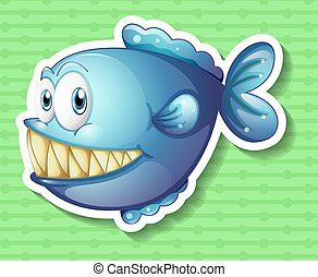 Sticker of a blue fish smiling showing its big sharp teeth