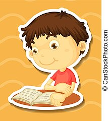 Sticker of a boy reading book