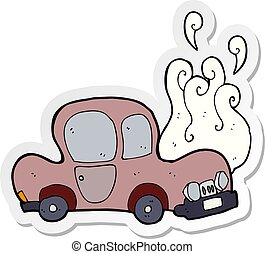 sticker of a broken down car cartoon