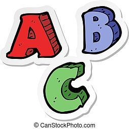 sticker of a cartoon ABC letters